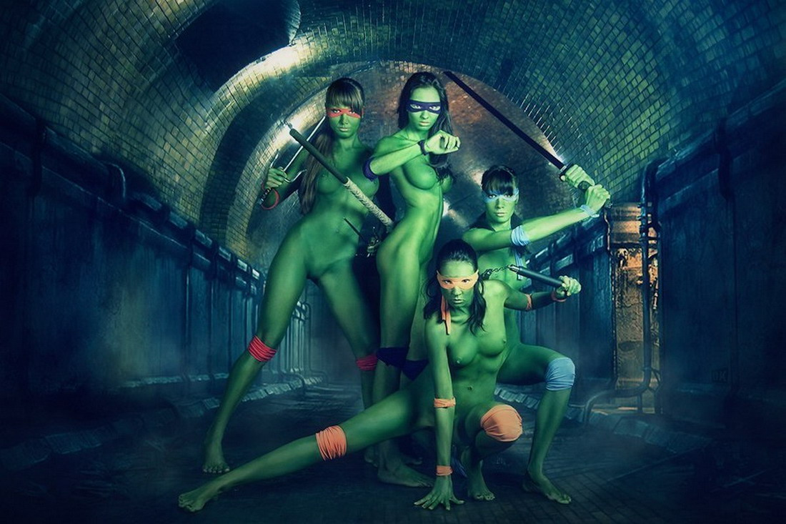 tortugas ninja body painting