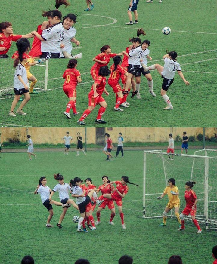 mujeres jugando al futbol