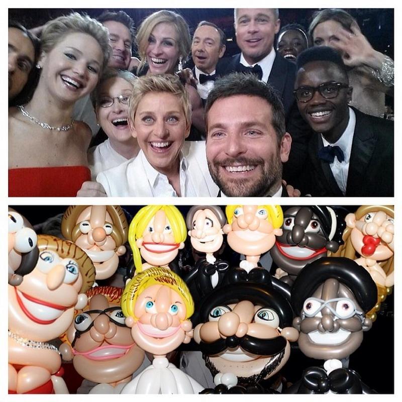 selfie oscar con globos