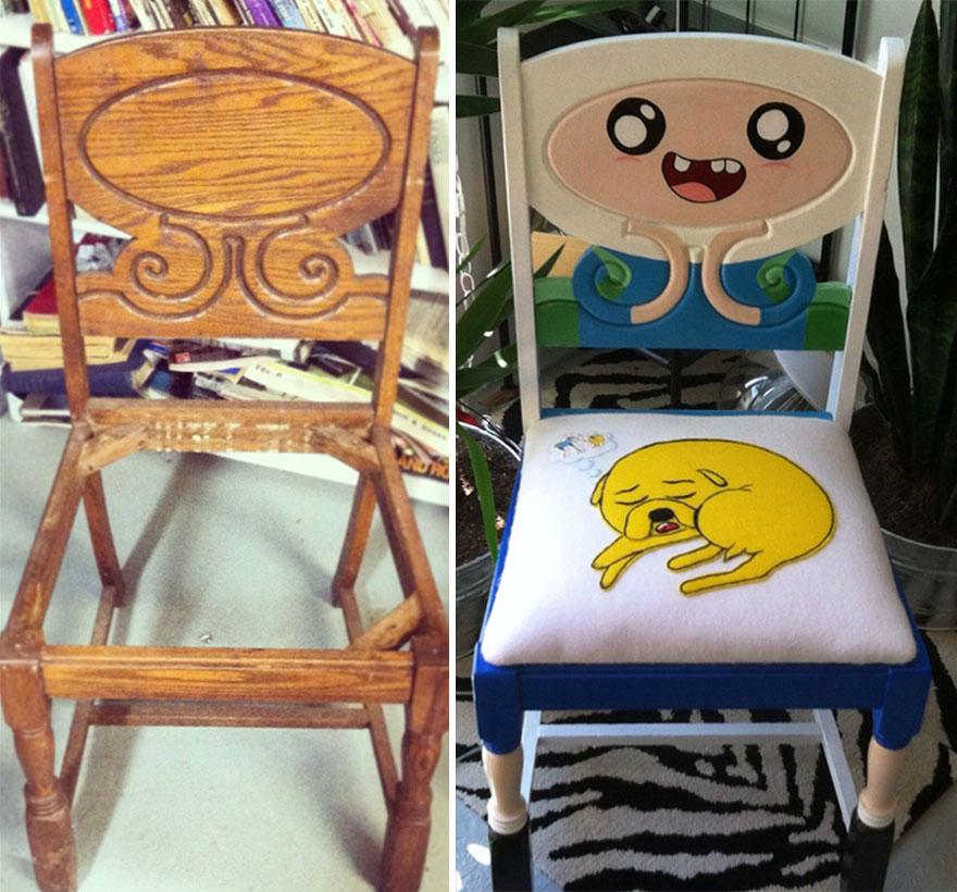 silla restaurada por un fan de Hora de Aventuras