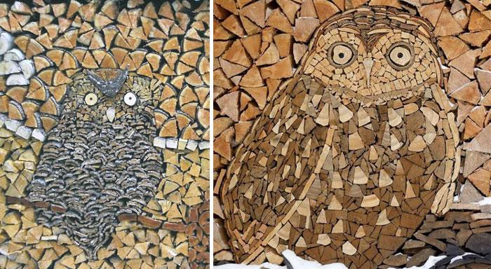 troncos almacenados con arte 4