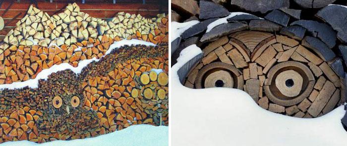 troncos almacenados con arte 7