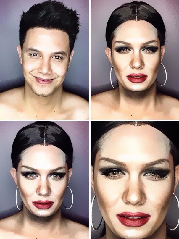 hombre maquillado para parecerse a famosas 19