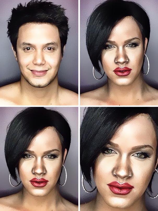 hombre maquillado para parecerse a famosas 5