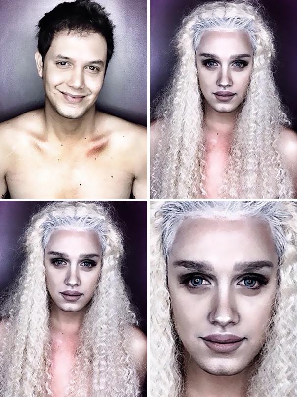 hombre maquillado para parecerse a famosas 6