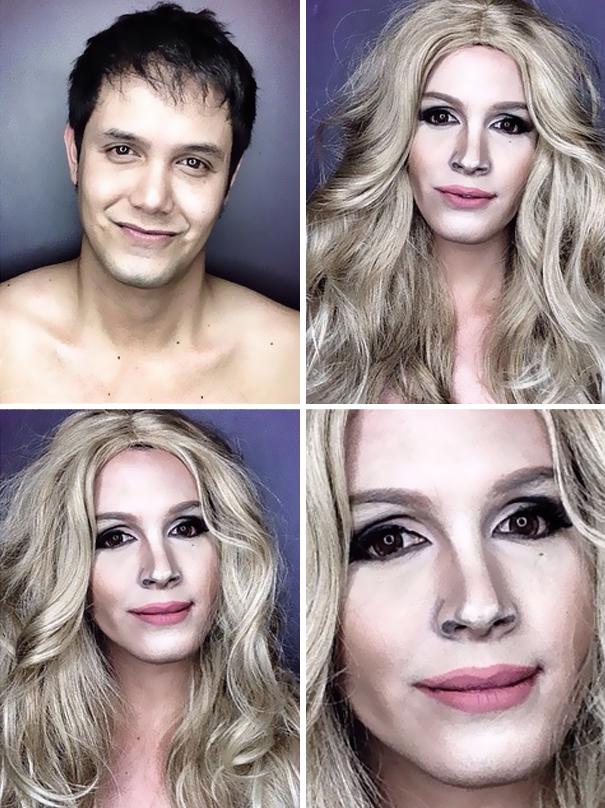 hombre maquillado para parecerse a famosas