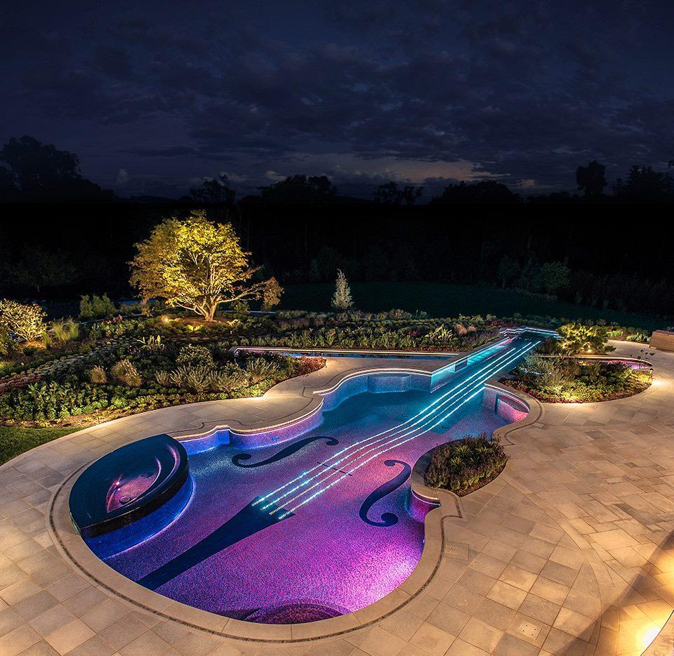 piscina con forma de violin