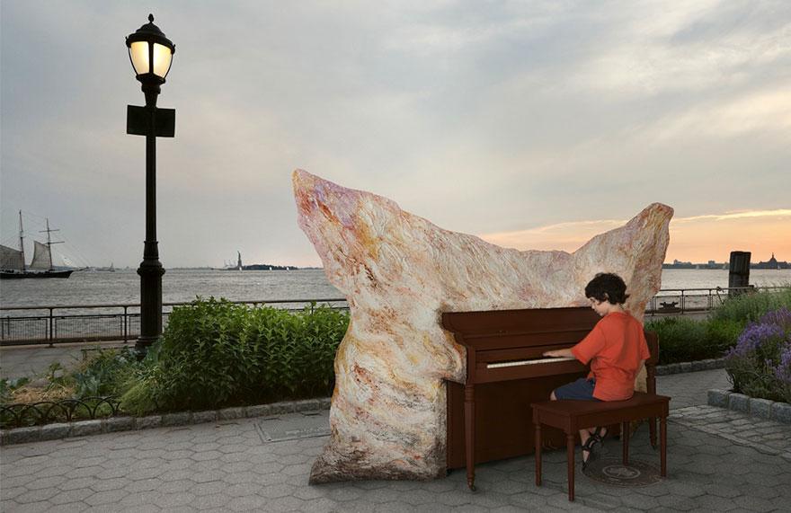 pianos pintados en plena calle 15