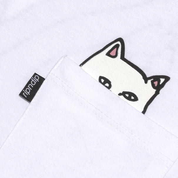 new concept 16e3a 3fe5b Camisetas con bolsillo y gato incorporado