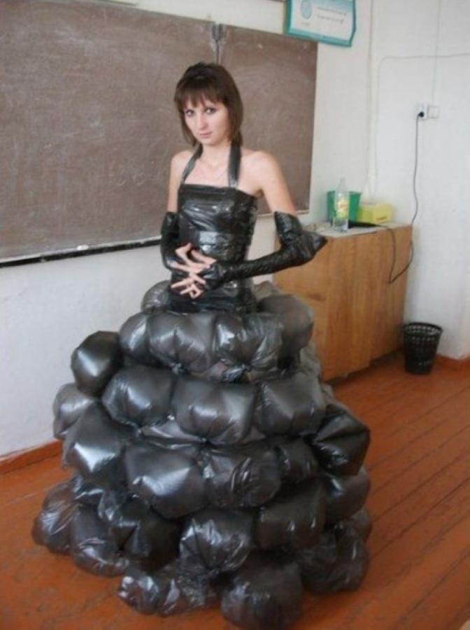 vestido bolsas de basura