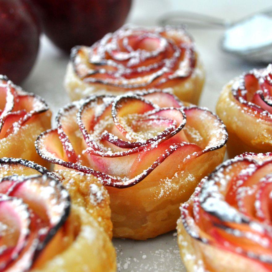 postre de manzana rosa
