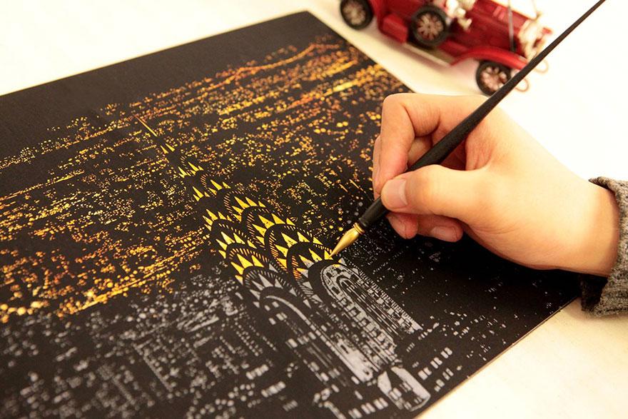 coloreando una ciudad de noche 1