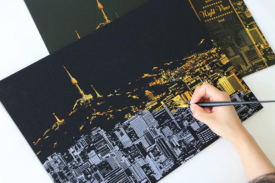 coloreando una ciudad de noche 2