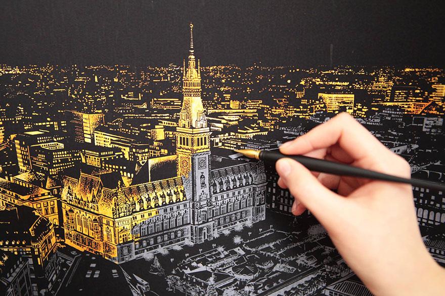 coloreando una ciudad de noche 3