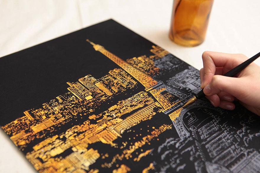 coloreando una ciudad de noche 5