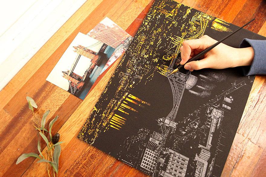 coloreando una ciudad de noche 7