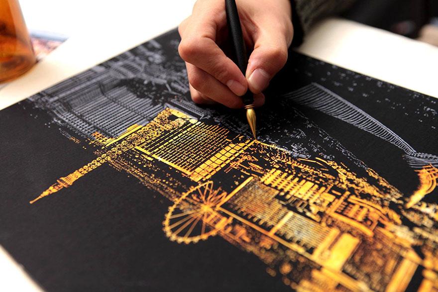 coloreando una ciudad de noche 8