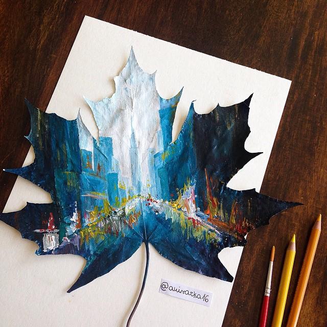 =Sin pluma ni papel= Arte-con-hojas-pintadas-1