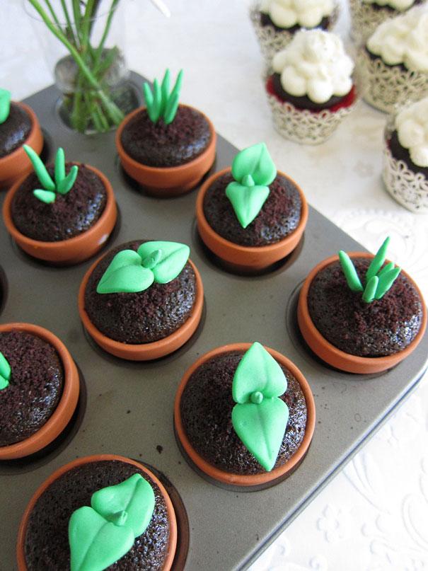 cupcakes que parecen plantas
