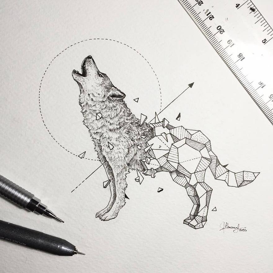 dibujos animales formas geometricas 1