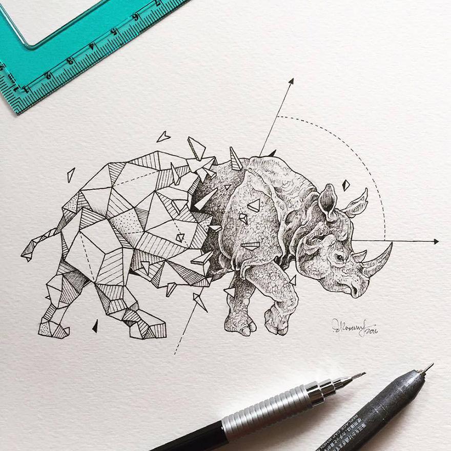 dibujos animales formas geometricas 10