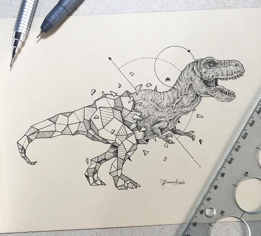 Dibujos De Animales Fusionados Con Formas Geomtricas
