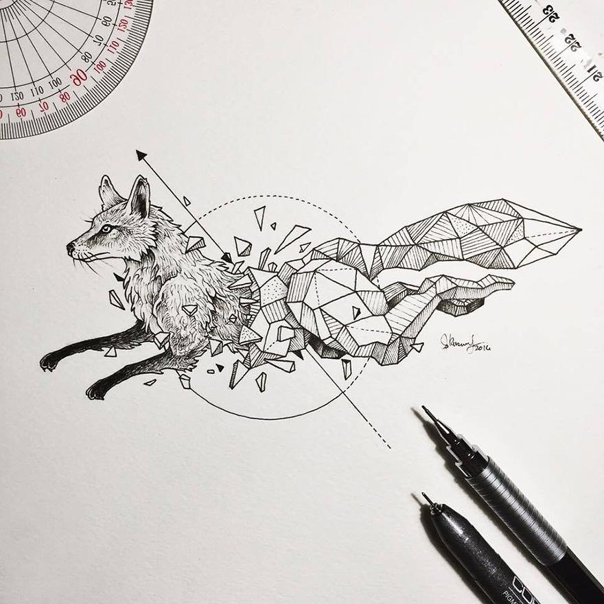 Dibujos De Animales Fusionados Con Formas Geométricas
