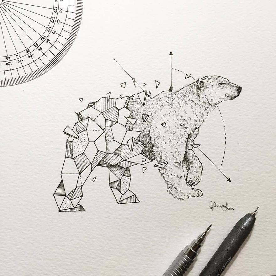 dibujos animales formas geometricas 6