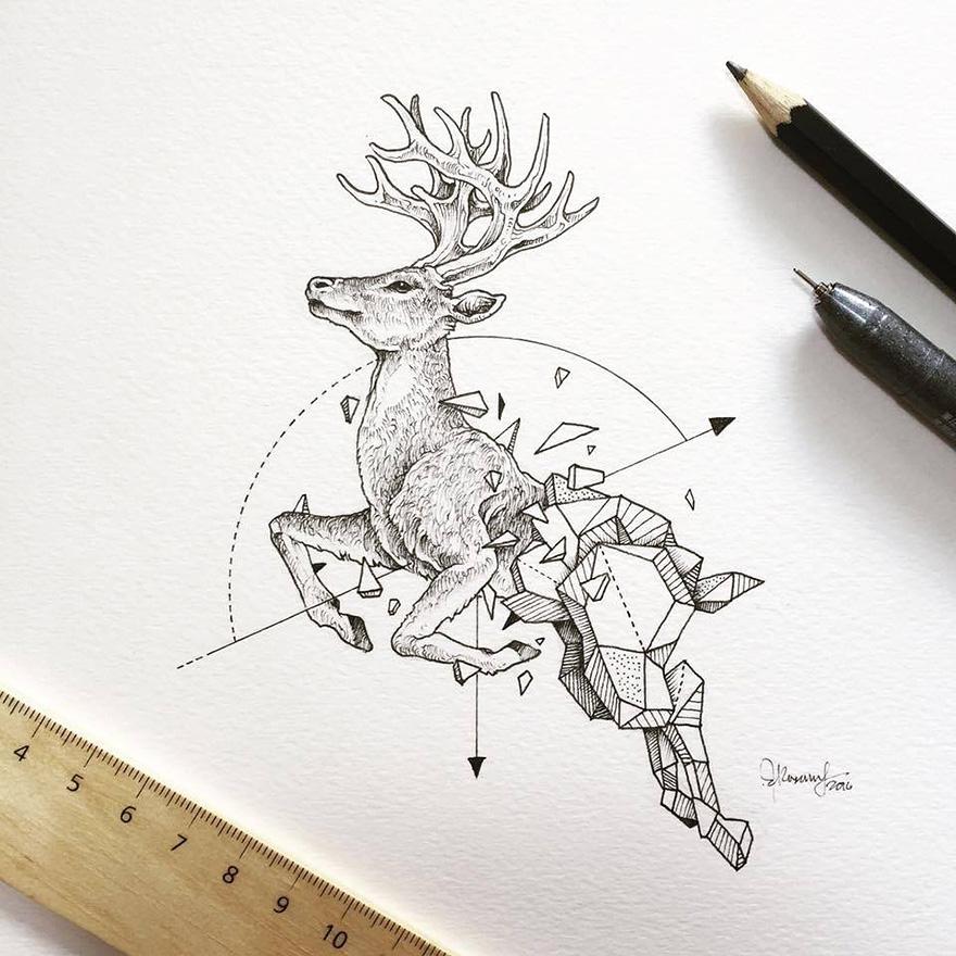 dibujos animales formas geometricas 7