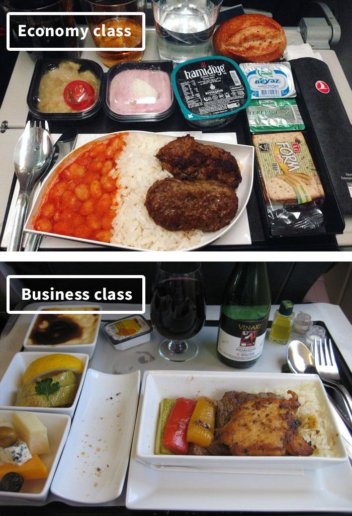 diferencias comida clase turista y business 9