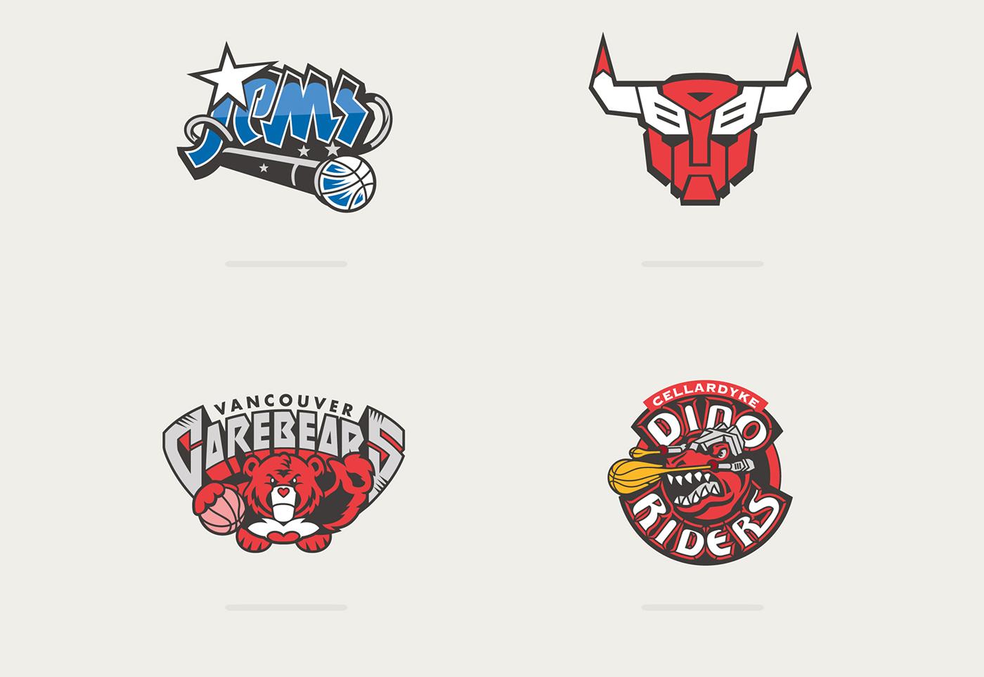 meet 5232d d758e Logotipos de la NBA mezclados con dibujos de los 80 y los 90