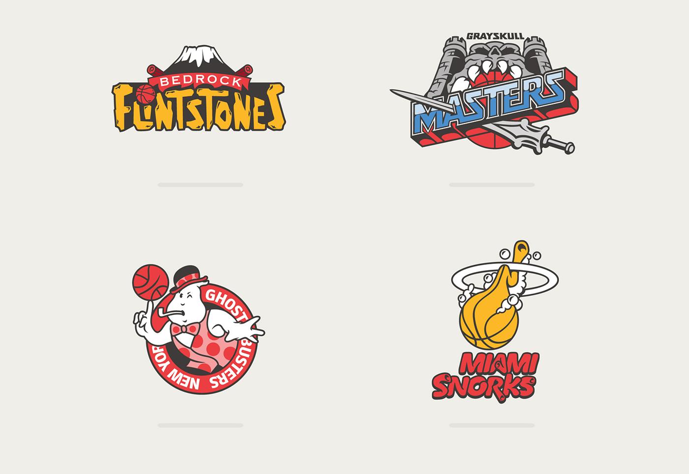 meet 6a0f3 800fc Logotipos de la NBA mezclados con dibujos de los 80 y los 90