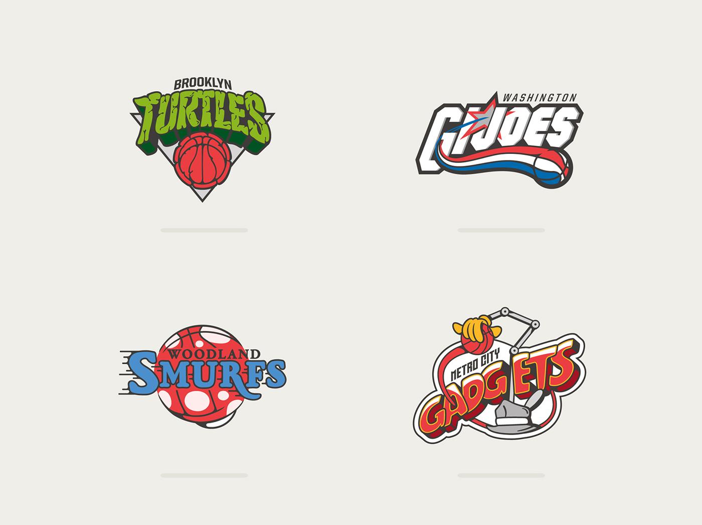Logotipos de la NBA mezclados con dibujos de los 80 y los 90