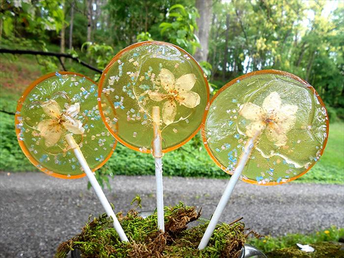 petalos de flores en piruletas 2