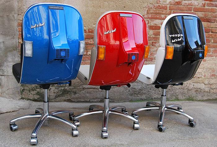vespas convertidas en sillas de oficina 11