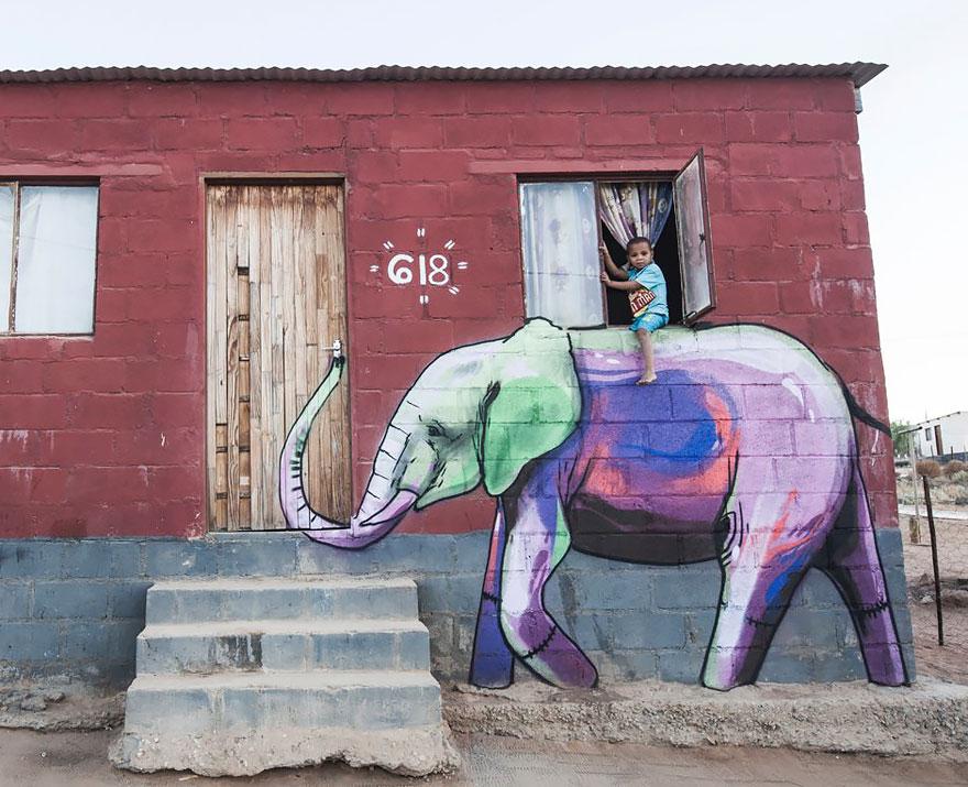 esperanzadores grafitis de elefantes 1
