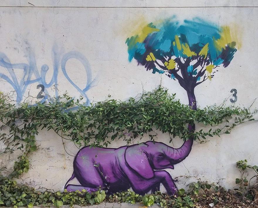 esperanzadores grafitis de elefantes 10
