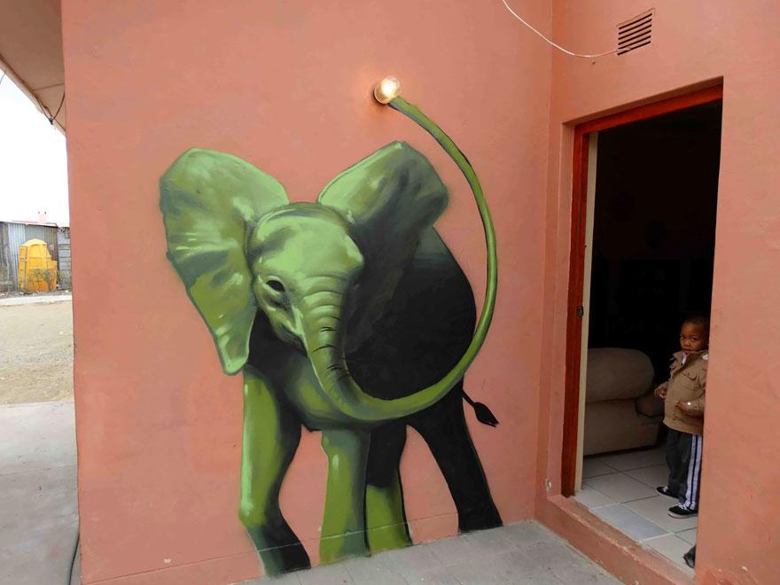 esperanzadores grafitis de elefantes 3