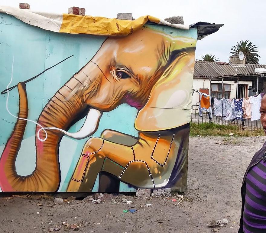 esperanzadores grafitis de elefantes 8