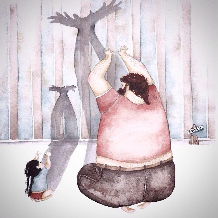 ilustraciones amor padres hijas 10