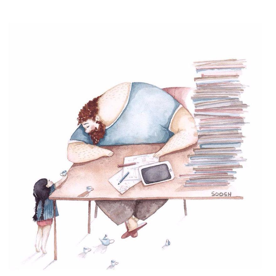 ilustraciones amor padres hijas 6