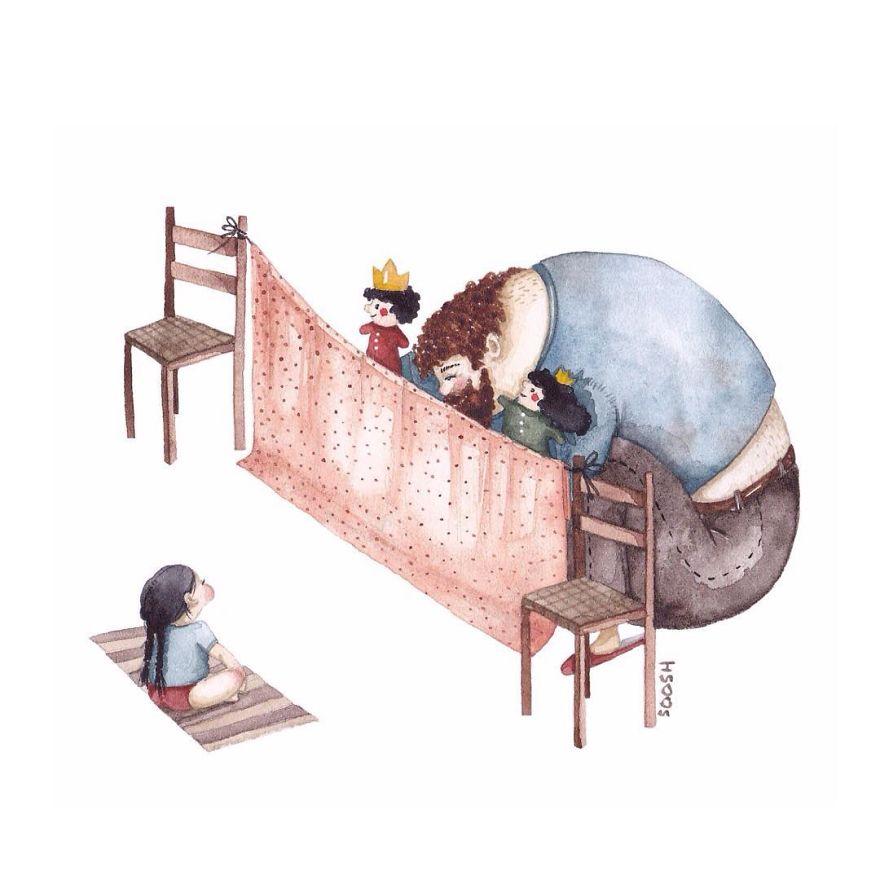 ilustraciones amor padres hijas 7