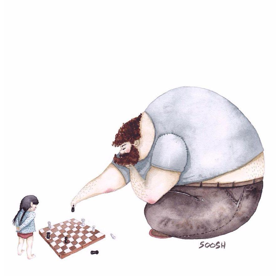 ilustraciones amor padres hijas 9