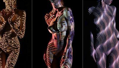 mujeres desnudas vestidas con luces y sombras 1