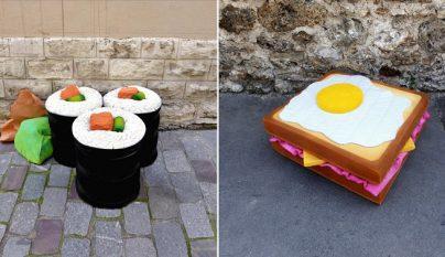 colchones esculturas comida 1
