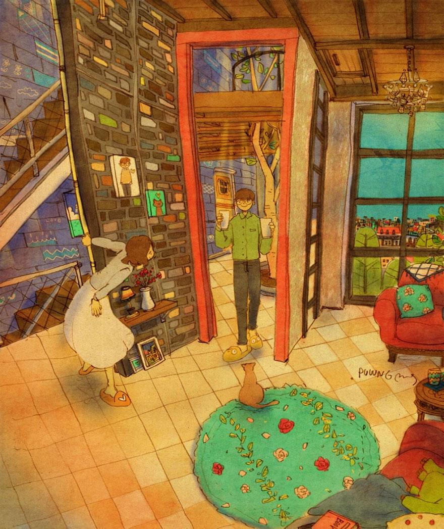 ilustraciones momentos amorosos 10