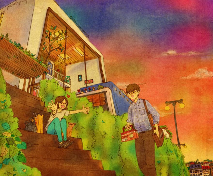 ilustraciones momentos amorosos 14