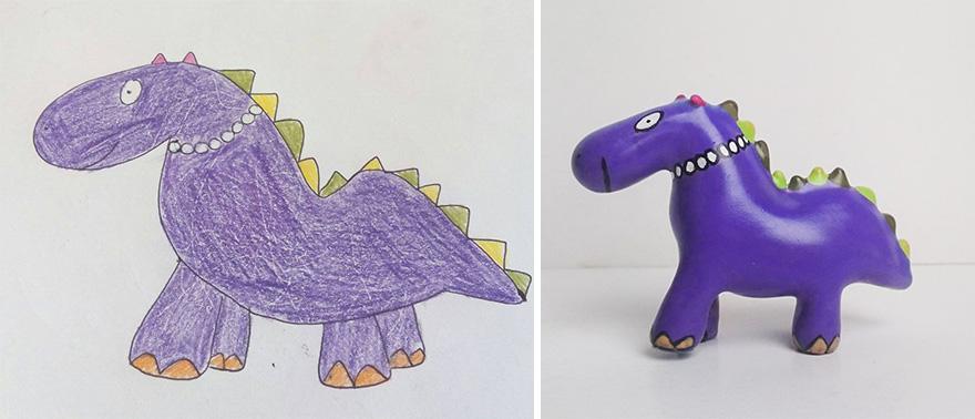 Dibujos de niños convertidos en figuras