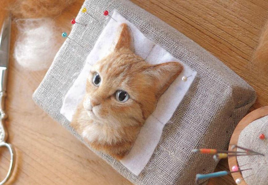 M8.18 Casa de Muñecas dos tazones de fuente de China gato marrón